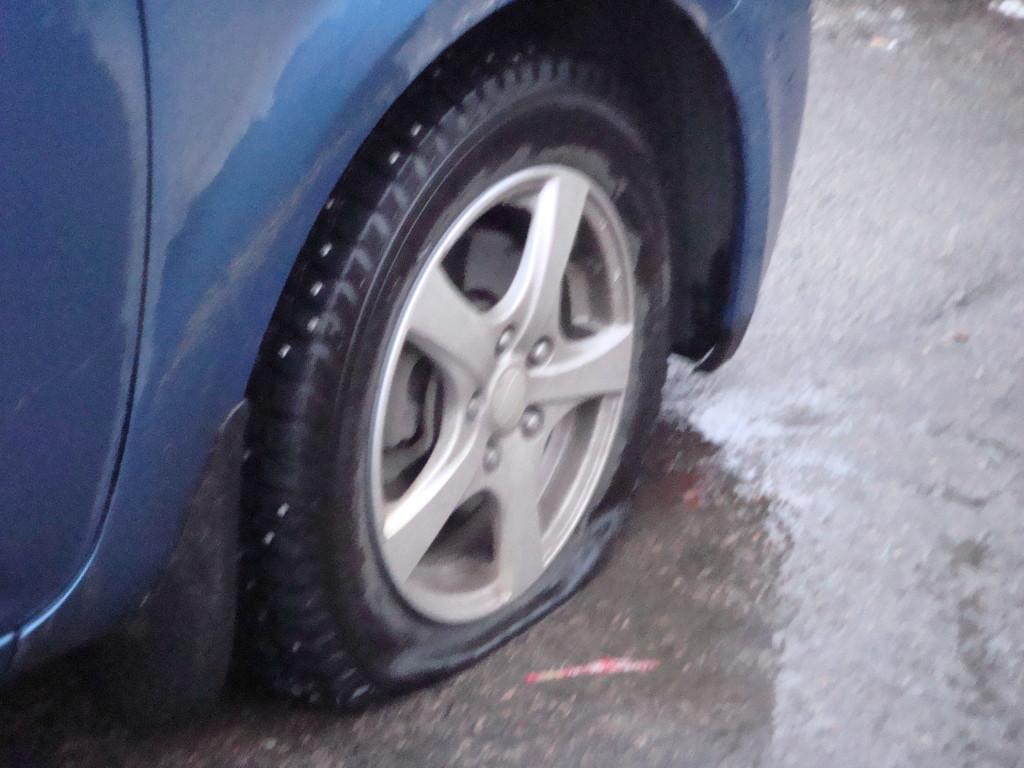 Punktering på bilen
