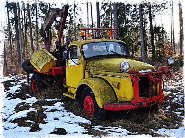 Lastbil i naturen