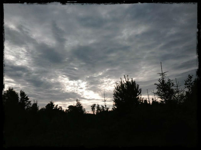 Lugnet i går morse före stormen.